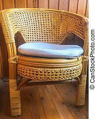 barna, elkészített, természetes, kert, vesszőfonás, szalmaszál, nagy, szék, rotáng, berendezés