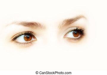 barna, elvont, szemek