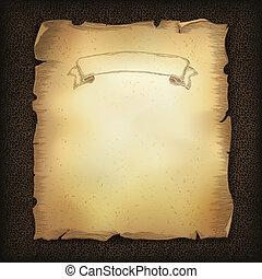 barna, eps10, ábra, megkorbácsol, kép, felcsavar, texture., sötét, vektor, öreg, idős, pergament, szalag