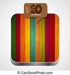 barna, eps10, színes, fából való, app, vektor, ikon, buborék, speech.