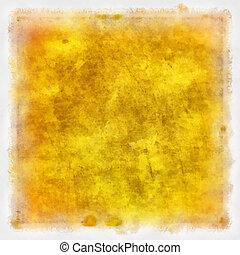barna, grunge, elvont, struktúra, dolgozat, sárga háttér, vagy