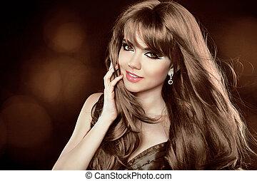barna, hairstyle., göndör, hosszú, leány, bájos, hair., woman., mosolyog vidám