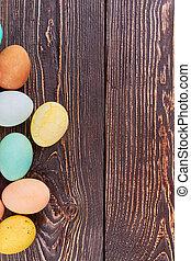 barna, ikra, színezett, wood.