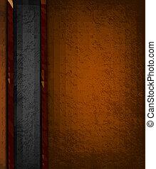 barna, illustration., szüret, leather., vektor, black háttér