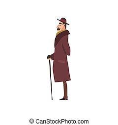 barna, jár sétabot, betű, úriember, ábra, finom, viktoriánus, vektor, bőr, kalap