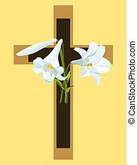 barna, keresztény, lilies., kereszt, nyersgyapjúszínű bezs, húsvét