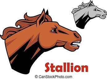 barna ló, csődör, karikatúra, betű