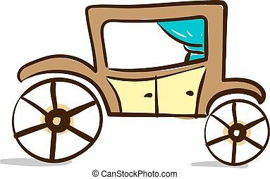 barna ló, illustration., szín, kocsi, vektor, vagy