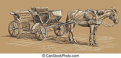 barna ló, kocsi