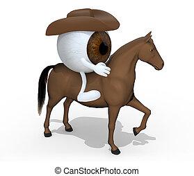 barna ló, szemgolyó, karikatúra, felül, őt
