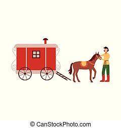barna ló, tehervagon, lovász, cigány, vardo, futkosó