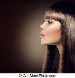 barna, mód, egészséges, hosszú szőr, bájos, formál