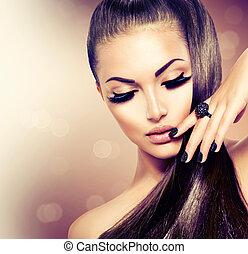 barna, mód, szépség, egészséges, hosszú szőr, formál, leány