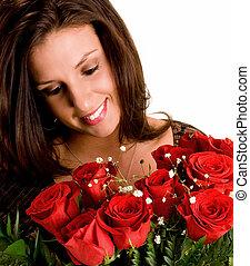 barna nő, agancsrózsák, csodáló, neki, fiatal