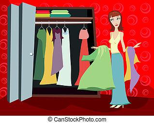 barna nő, -, beépített szekrény, öltözék