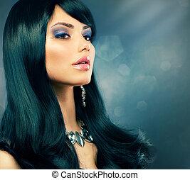 barna nő, egészséges, alkat, hosszú szőr, girl., fekete, fényűzés, ünnep