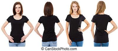 barna nő, elszigetelt, tiszta, leány, szőke, feláll, ing, set., két, háttér., fekete, sablon, fehér, gúnyol, kollázs, ing, hely, póló, elülső, másol, fenék, t