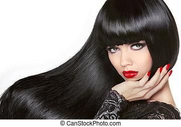 barna nő, girl., fekete, hair., hosszú, hairstyle., egészséges, piros, gyönyörű