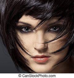 barna nő, girl., hair., hairstyle., egészséges, gyönyörű