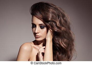 barna nő, hair., woman., göndör, hosszú, gyönyörű