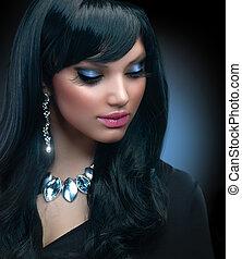 barna nő, leány, alkat, jewelry., ünnep, gyönyörű