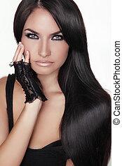 barna nő, leány, girl., szépség, hair., formál, woman., elszigetelt, portré, hairstyle., egészséges, háttér., hosszú, gyönyörű, fehér