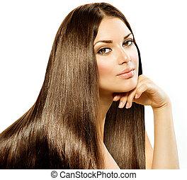 barna nő, leány, hair., elszigetelt, gyönyörű, hosszú, egyenes, fehér
