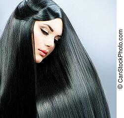 barna nő, leány, hair., hosszú, egyenes, gyönyörű