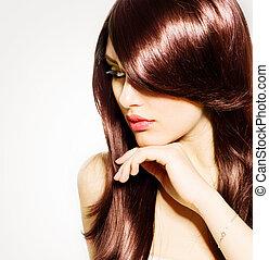 barna nő, leány, haj, hair., barna, egészséges, hosszú, gyönyörű