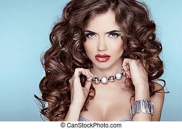 barna nő, leány, mód, szépség, portrait., felett, kék, accessories., hairstyle., háttér., ékszerek