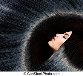 barna nő, nő, szépség, fekete, hair., egészséges, hosszú
