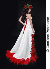 barna nő, ruha, agancsrózsák, mód, feltevő, formál, alj, white piros