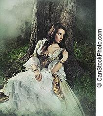 barna nő, szépség, ódivatú, erdő, nagyszerű, ruha
