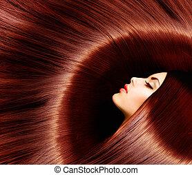 barna, nő, szépség, egészséges, hosszú, barna nő, hair.