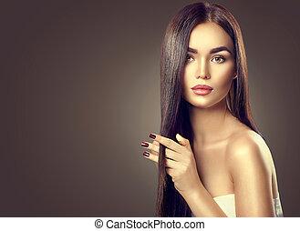 barna nő, szépség, egészséges, hosszú szőr, megható, formál, leány
