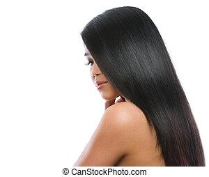barna nő, szépség, egyenes, sima, elszigetelt, hosszú szőr, ázsiai, portré, leány, fehér