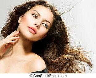 barna nő, woman lány, szépség, hair., portré, hosszú, gyönyörű