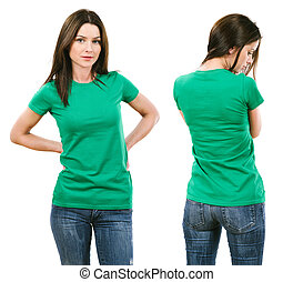 barna nő, zöld ing, tiszta