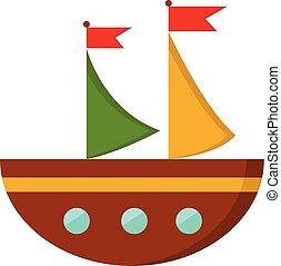 barna, szín, ábra, vektor, semi-circular, vagy, csónakázik