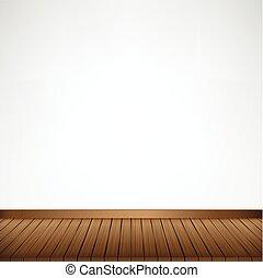 barna, szoba, hely, fal, fa padló, struktúra, vektor, ábra, háttér, fehér, üres
