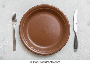 barna, tányér, tető, beton, kanál, kés, kilátás