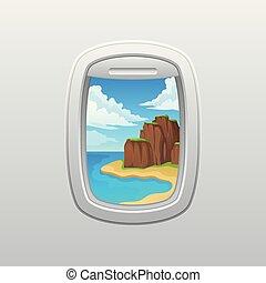 barna, tengerpart., illustration., hegyek, plane., ablak, vektor, dőlés, túlzott, kilátás