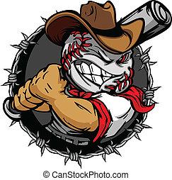 baseball, cowboy, holdin, karikatúra, arc