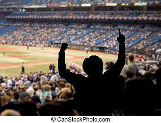 baseball, rajongó, ünneplés