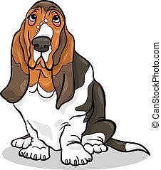 basset kopó, kutya, ábra, karikatúra