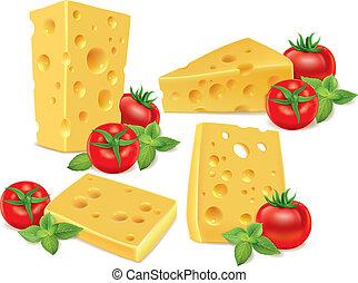 bazsalikom, cseresznye, sajt, paradicsom