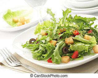 beállítás, zöld saláta, étterem