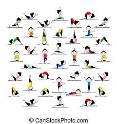 beállít, emberek, jóga, -e, gyakorló, tervezés, 25