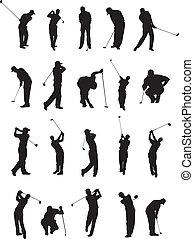 beállít, golf, árnykép, 20