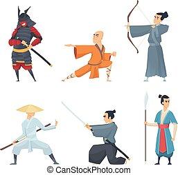 beállít, kard, keleti, fighters., hagyományos, szamuráj, vektor, kína, császár, betűk, akció, ninja, daliák, guangdong, karikatúra